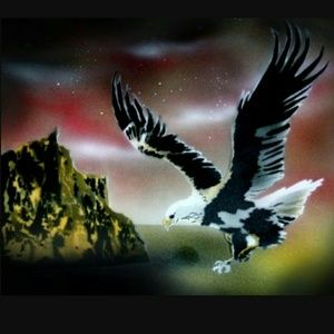 FLYING EAGLE Airbrushed T-shirt Custom Made